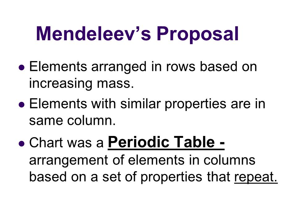 Mendeleev's Prediction Table incomplete– elements not yet discovered Left spaces in table for undiscovered elements Good models allow for predictions to be made based on model Used properties of nearby elements to predict properties of unknown elements