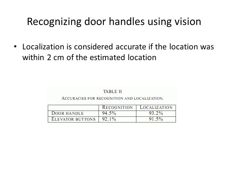 Recognizing door handles using vision Localization is considered accurate if the location was within 2 cm of the estimated location