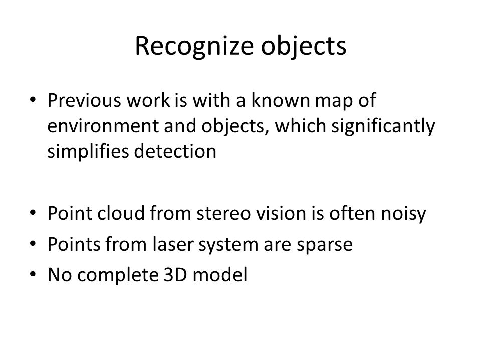 Recognize objects using stereo vision