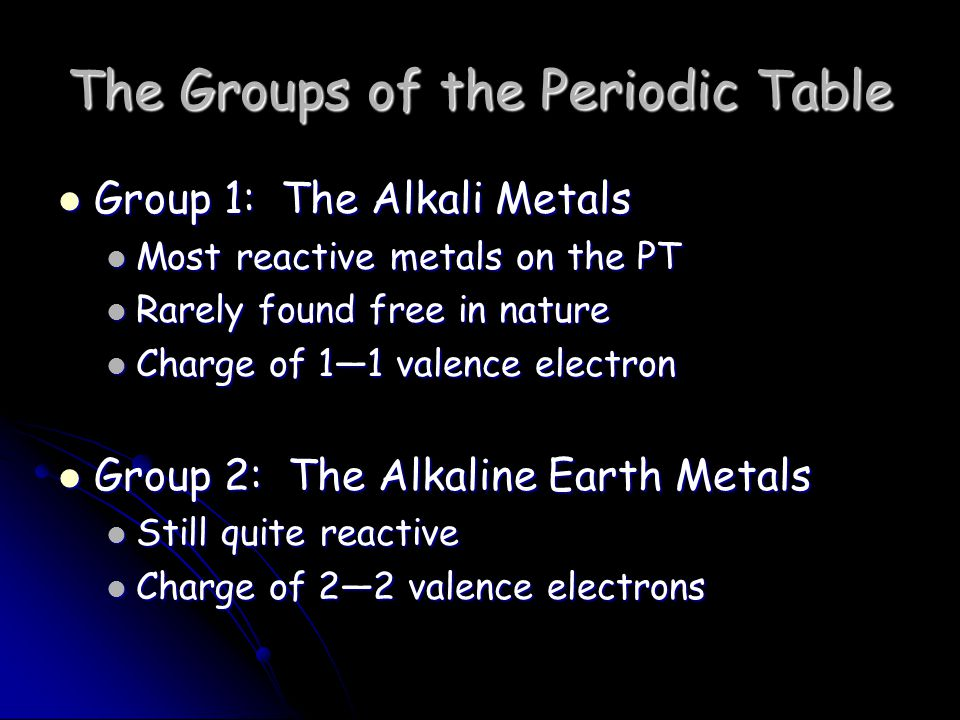 The Groups of the Periodic Table Group 1: The Alkali Metals Group 1: The Alkali Metals Most reactive metals on the PT Most reactive metals on the PT Rarely found free in nature Rarely found free in nature Charge of 1—1 valence electron Charge of 1—1 valence electron Group 2: The Alkaline Earth Metals Group 2: The Alkaline Earth Metals Still quite reactive Still quite reactive Charge of 2—2 valence electrons Charge of 2—2 valence electrons