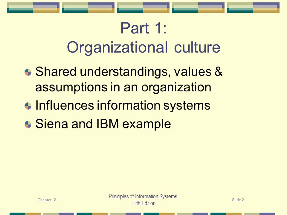 Chapter 2Slide 2 Principles of Information Systems, Fifth Edition Part 1: Organizational culture Shared understandings, values & assumptions in an organization Influences information systems Siena and IBM example