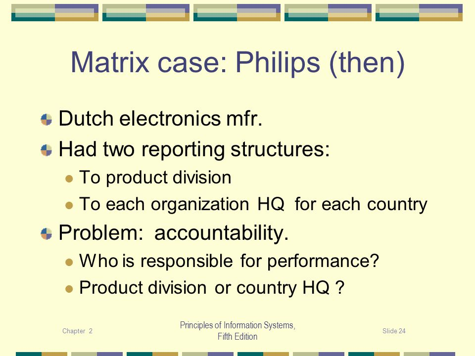 Chapter 2Slide 24 Principles of Information Systems, Fifth Edition Matrix case: Philips (then) Dutch electronics mfr.