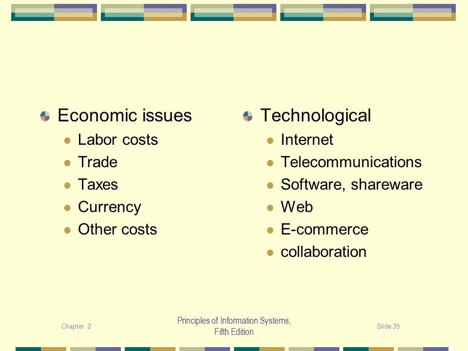 Chapter 2Slide 35 Principles of Information Systems, Fifth Edition Economic issues Labor costs Trade Taxes Currency Other costs Technological Internet Telecommunications Software, shareware Web E-commerce collaboration