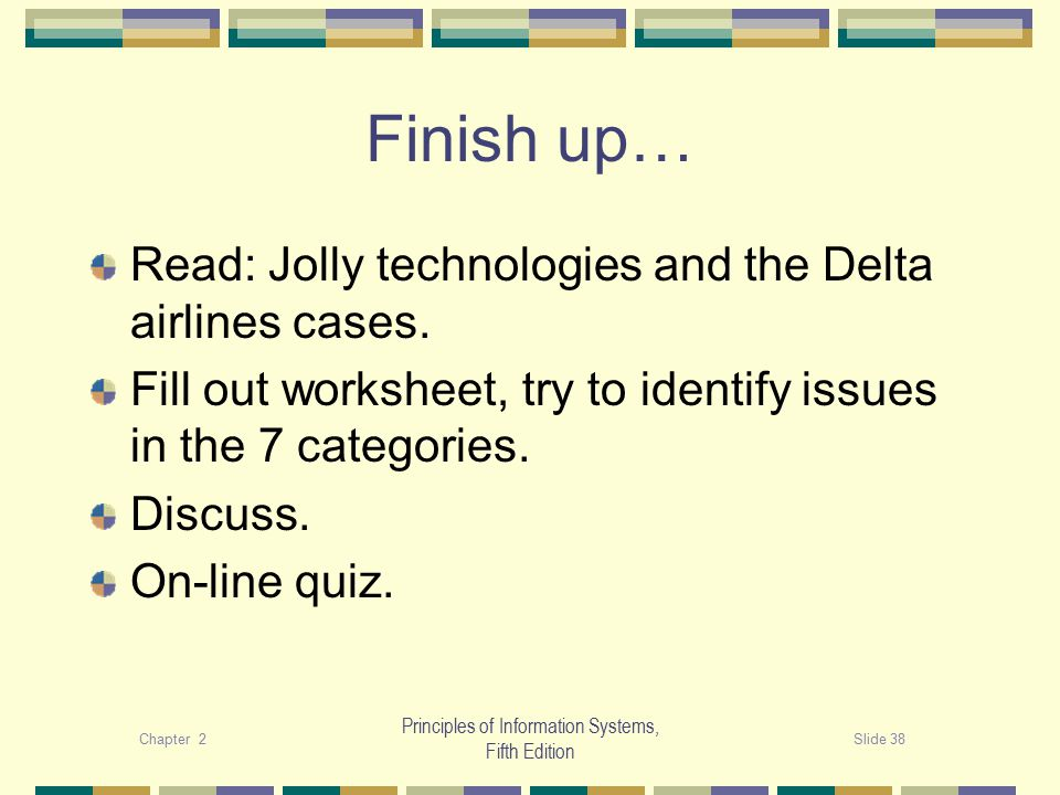 Chapter 2Slide 38 Principles of Information Systems, Fifth Edition Finish up… Read: Jolly technologies and the Delta airlines cases.