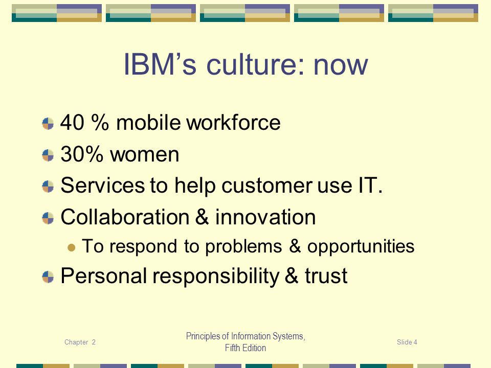 Chapter 2Slide 4 Principles of Information Systems, Fifth Edition IBM's culture: now 40 % mobile workforce 30% women Services to help customer use IT.