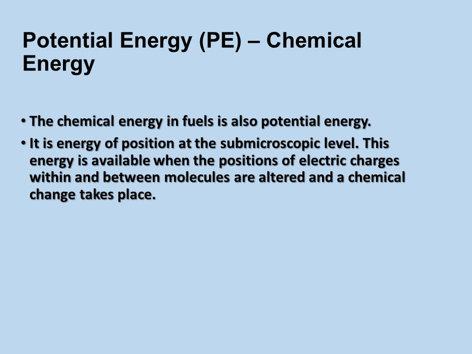 Potential Energy (PE) The energy that is stored. The energy that is stored.
