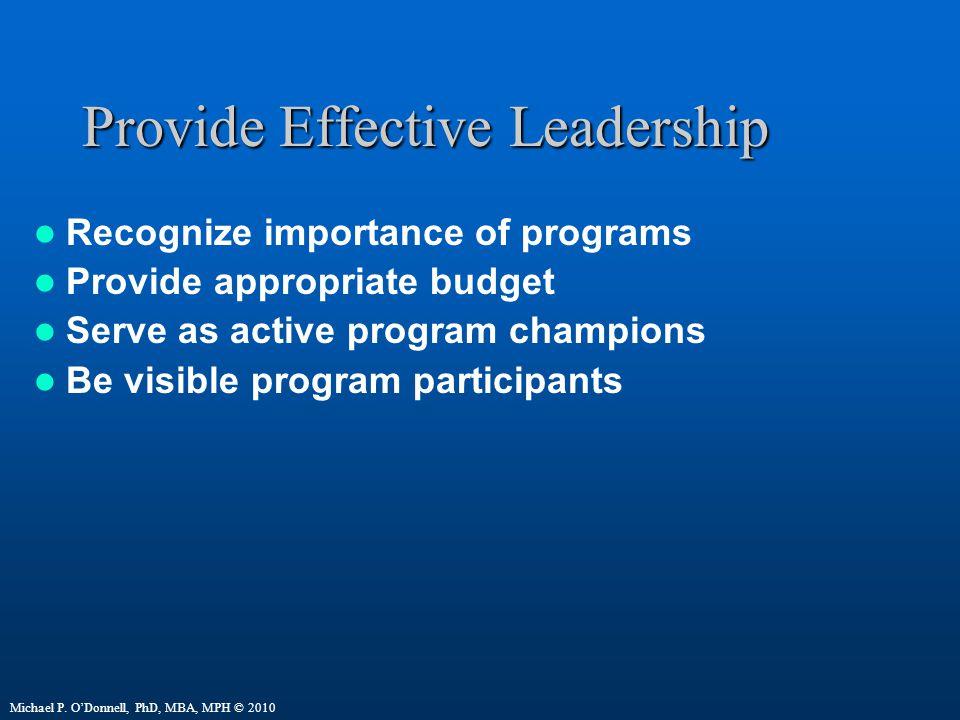 Provide Effective Leadership Recognize importance of programs Provide appropriate budget Serve as active program champions Be visible program participants Michael P.