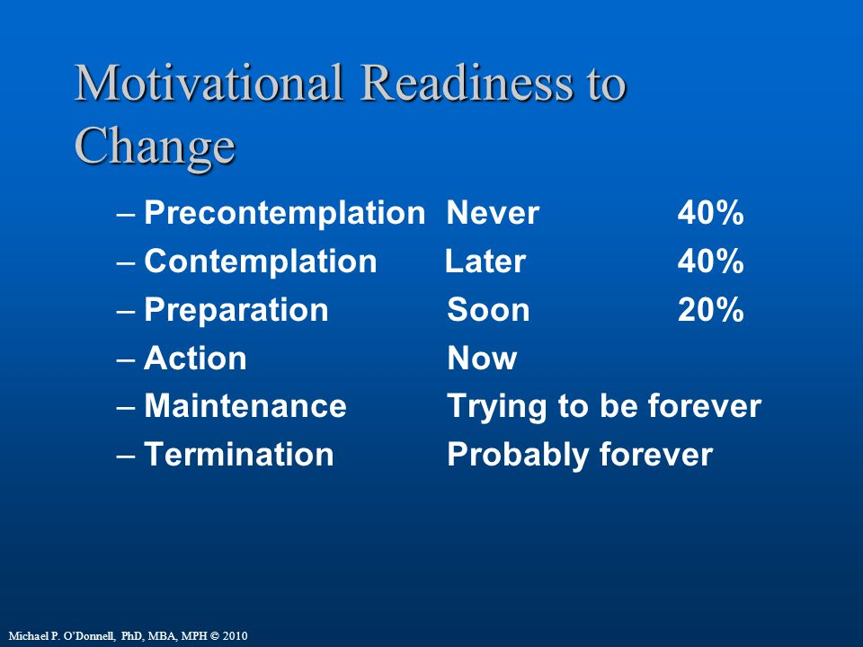 Motivational Readiness to Change –Precontemplation Never40% –Contemplation Later40% –Preparation Soon20% –Action Now –Maintenance Trying to be forever –Termination Probably forever Michael P.