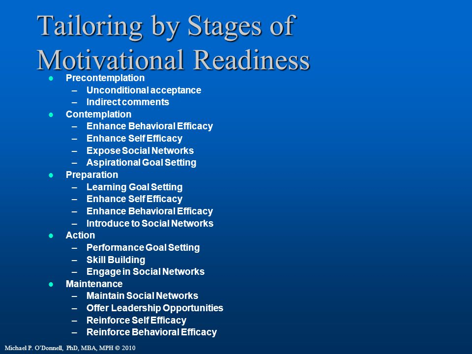 Tailoring by Stages of Motivational Readiness Precontemplation –Unconditional acceptance –Indirect comments Contemplation –Enhance Behavioral Efficacy –Enhance Self Efficacy –Expose Social Networks –Aspirational Goal Setting Preparation –Learning Goal Setting –Enhance Self Efficacy –Enhance Behavioral Efficacy –Introduce to Social Networks Action –Performance Goal Setting –Skill Building –Engage in Social Networks Maintenance –Maintain Social Networks –Offer Leadership Opportunities –Reinforce Self Efficacy –Reinforce Behavioral Efficacy Michael P.