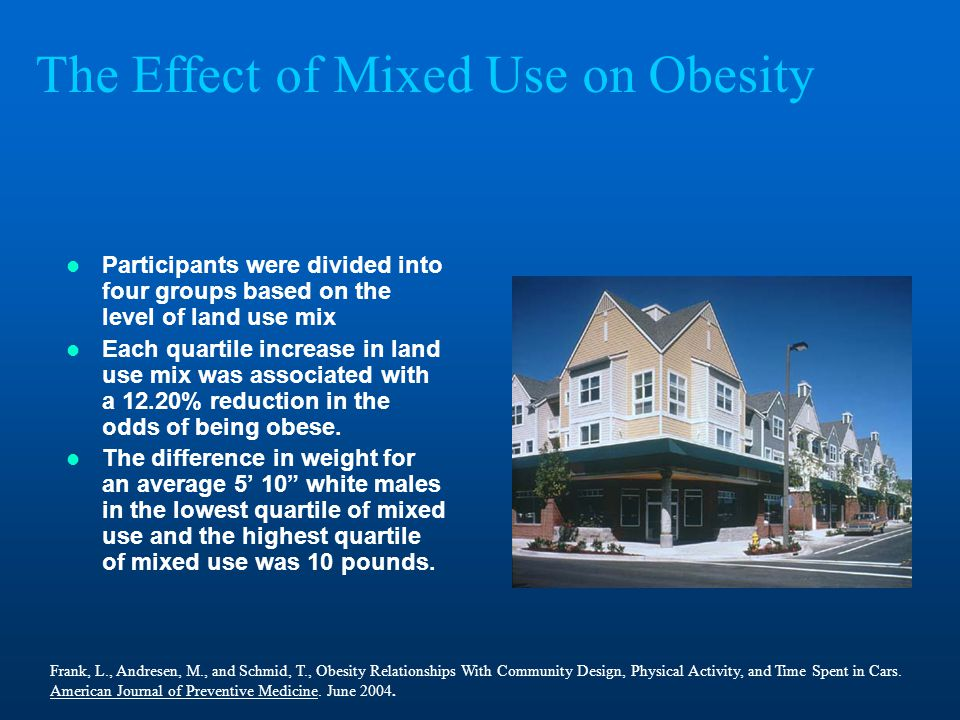 The Effect of Mixed Use on Obesity Participants were divided into four groups based on the level of land use mix Each quartile increase in land use mix was associated with a 12.20% reduction in the odds of being obese.