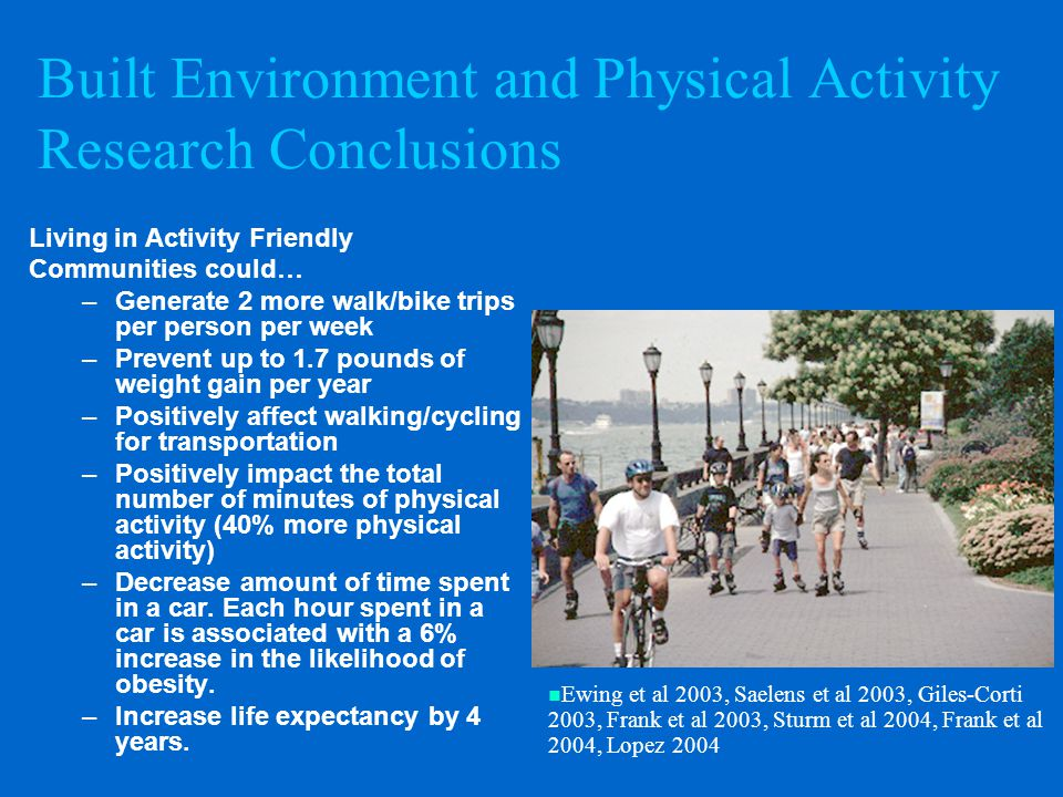 Built Environment and Physical Activity Research Conclusions Living in Activity Friendly Communities could… –Generate 2 more walk/bike trips per person per week –Prevent up to 1.7 pounds of weight gain per year –Positively affect walking/cycling for transportation –Positively impact the total number of minutes of physical activity (40% more physical activity) –Decrease amount of time spent in a car.