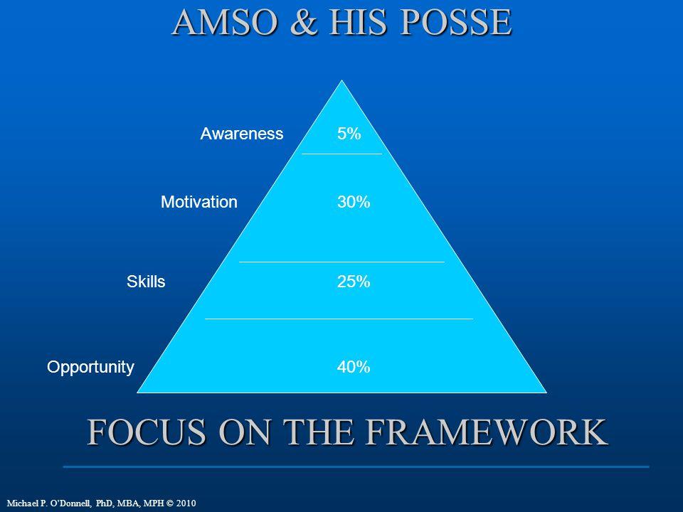 AMSO & HIS POSSE Awareness Motivation Skills Opportunity 5% 30% 25% 40% Michael P.