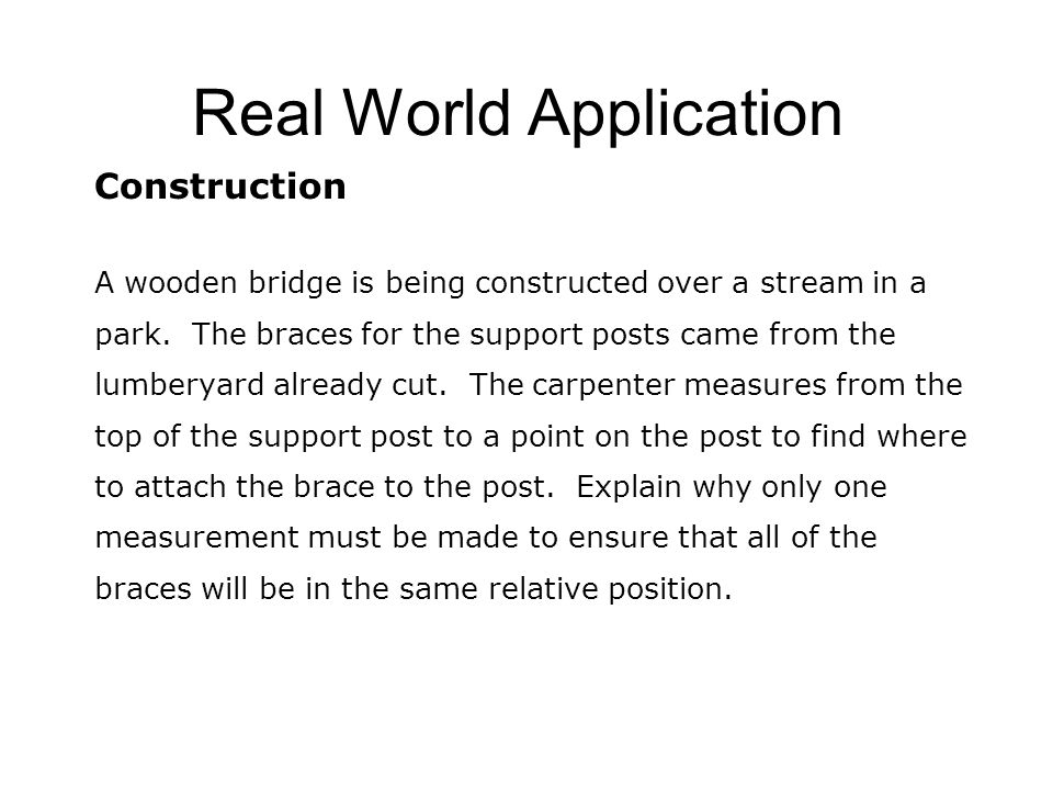 Real World Application Construction A wooden bridge is being constructed over a stream in a park.