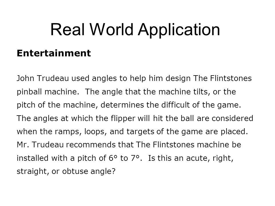 Real World Application Entertainment John Trudeau used angles to help him design The Flintstones pinball machine.