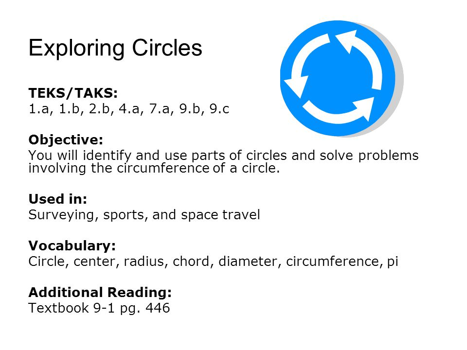 Exploring Circles TEKS/TAKS: 1.a, 1.b, 2.b, 4.a, 7.a, 9.b, 9.c Objective: You will identify and use parts of circles and solve problems involving the