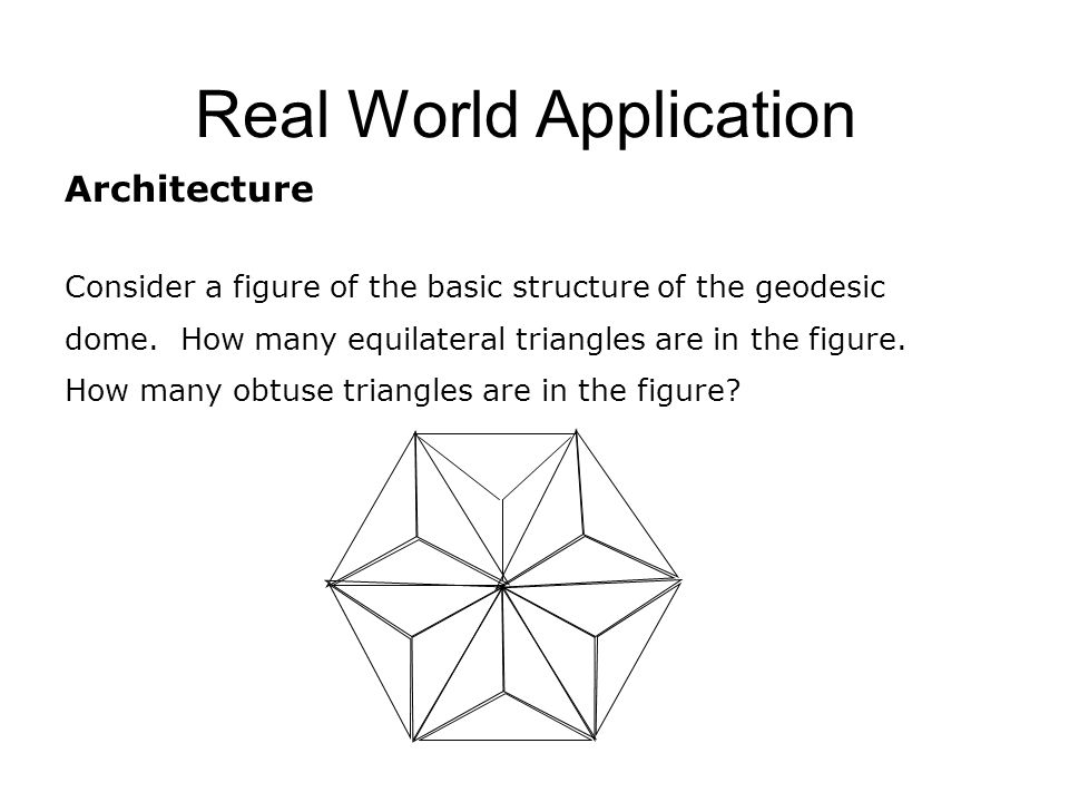 Real World Application Architecture Consider a figure of the basic structure of the geodesic dome.