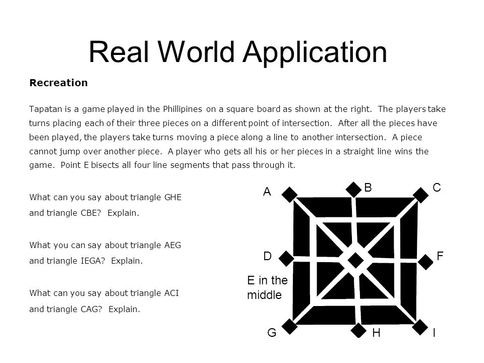 Real World Application Recreation Tapatan is a game played in the Phillipines on a square board as shown at the right.