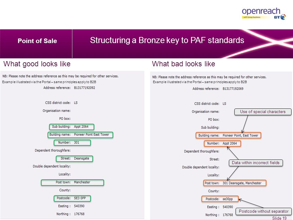 Use of special characters Postcode without separator Data within incorrect fields What good looks likeWhat bad looks like Point of Sale Structuring a Bronze key to PAF standards Slide 19 Example illustrated via the Portal – same principles apply to B2B