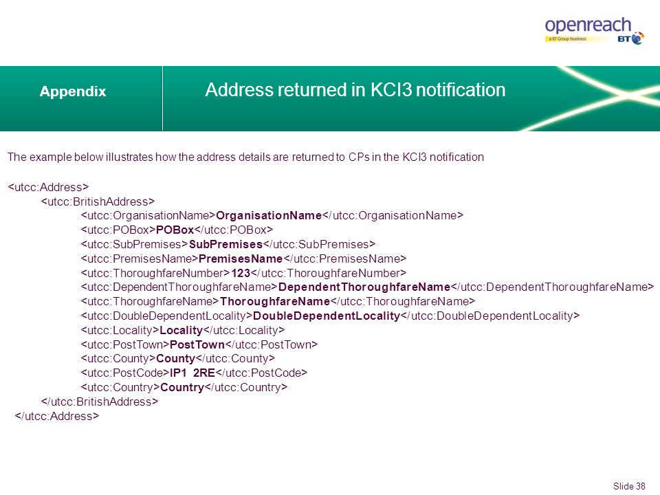 The example below illustrates how the address details are returned to CPs in the KCI3 notification Appendix Address returned in KCI3 notification OrganisationName POBox SubPremises PremisesName 123 DependentThoroughfareName ThoroughfareName DoubleDependentLocality Locality PostTown County IP1 2RE Country Slide 38