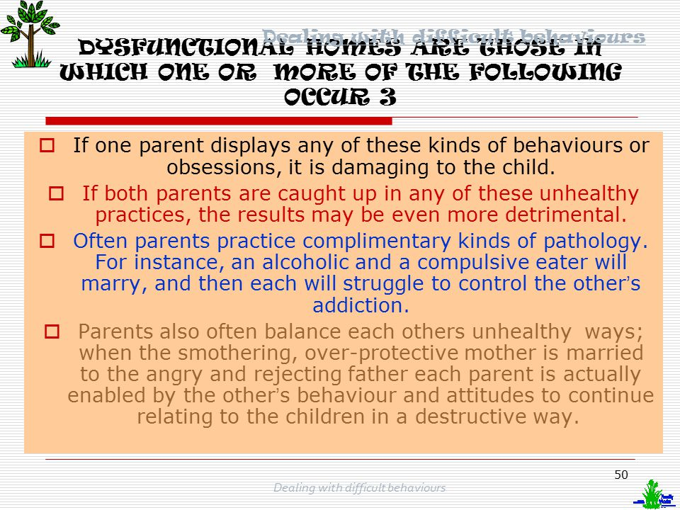 49 Dealing with difficult behaviours DYSFUNCTIONAL HOMES ARE THOSE IN WHICH ONE OR MORE OF THE FOLLOWING OCCUR 2  Parents who have conflicting attitudes or values or display contradictory behaviours that compete for their children ' s allegiance.