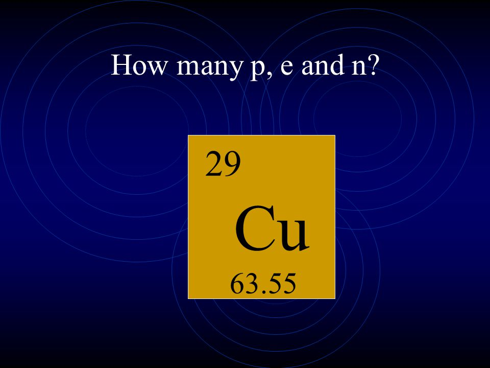How many p, e and n K 19 39.10 Chemical Symbol Atomic Number Atomic Mass