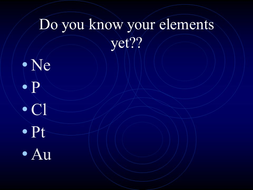 Do you know your elements yet?? He U Ba Mg K