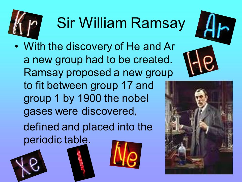 Sir William Ramsay With the discovery of He and Ar a new group had to be created.