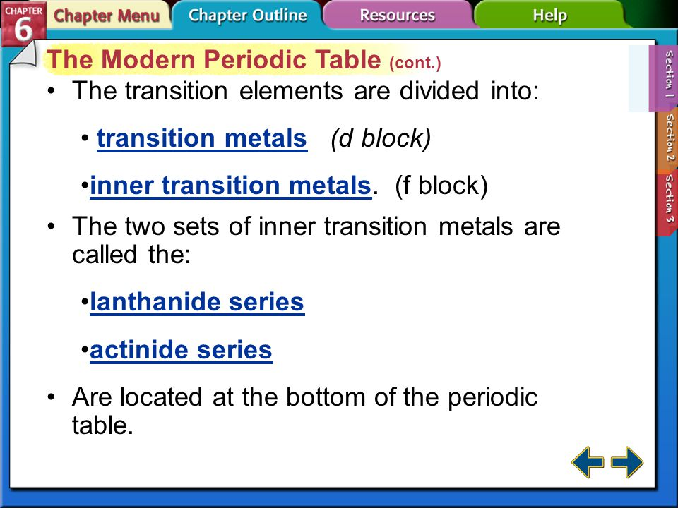 Section 6-1 The Modern Periodic Table (cont.) Elements are classified as metals, non-metals, and metalloids.