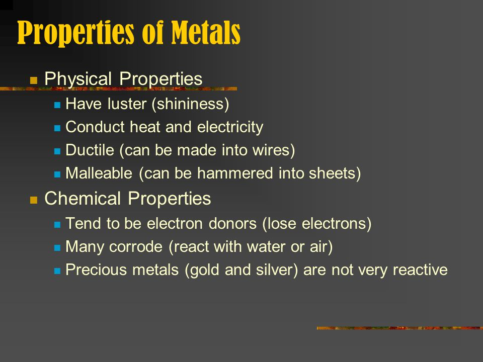Properties of Non-Metals Physical Properties Generally the opposite of metals May be solid, liquid or gas at room temperature Have much lower densities and melting points than metals Chemical Properties Tend to be electron acceptors (gain electrons) Noble Gases (Group 18) do not react with other elements