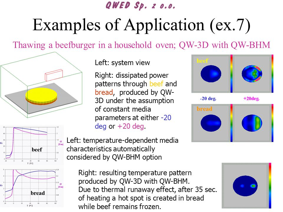 Examples of Application (ex.7) Thawing a beefburger in a household oven; QW-3D with QW-BHM Left: system view Right: dissipated power patterns through beef and bread, produced by QW- 3D under the assumption of constant media parameters at either -20 deg or +20 deg.