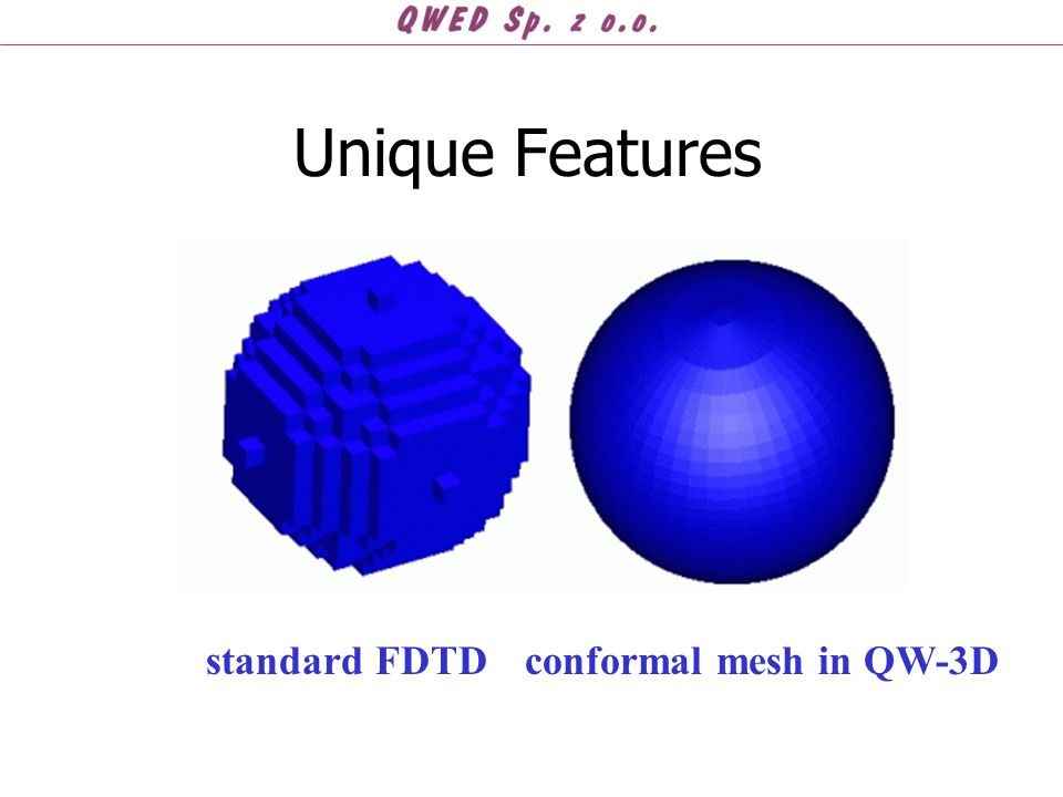 Unique Features standard FDTD conformal mesh in QW-3D
