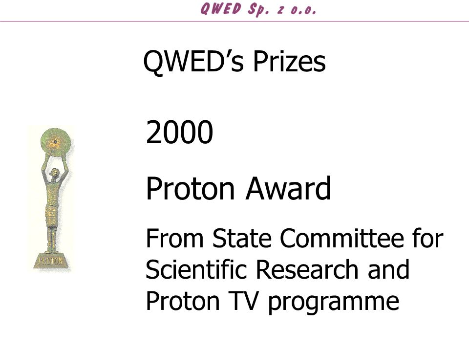 QWED's Prizes 2000 Proton Award From State Committee for Scientific Research and Proton TV programme