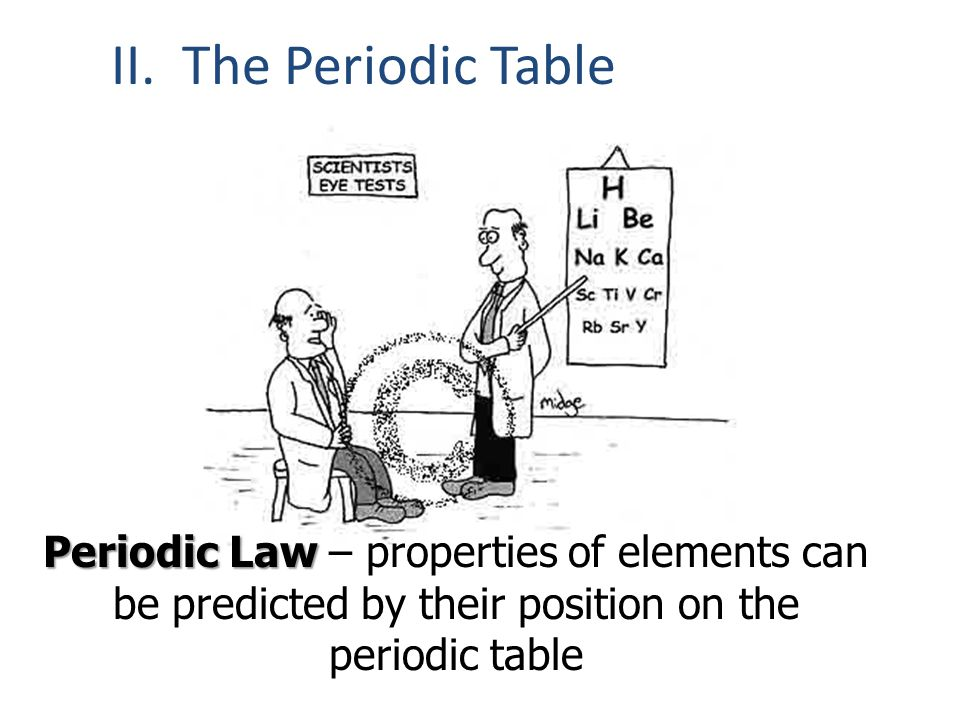 II. The Periodic Table Periodic Law Periodic Law – properties of elements can be predicted by their position on the periodic table