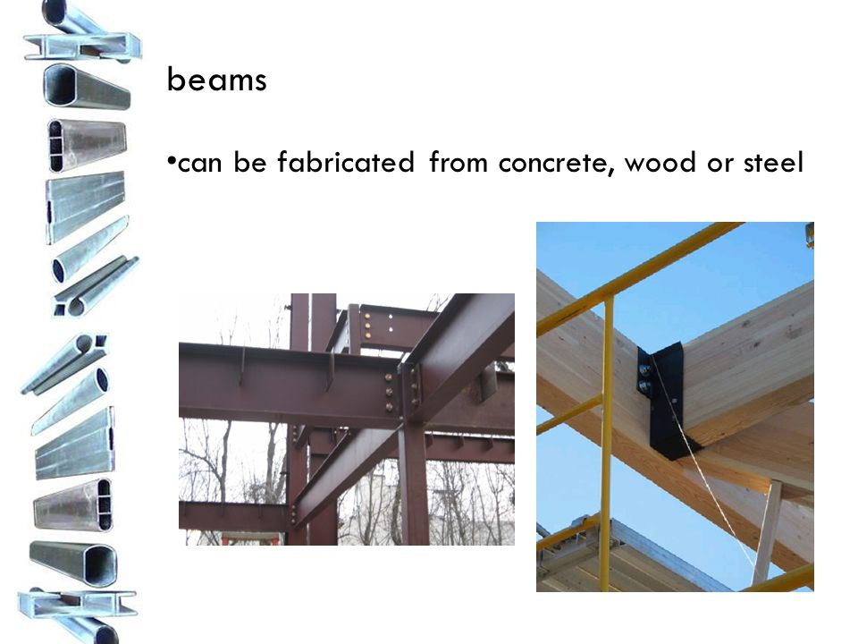 beams can be fabricated from concrete, wood or steel