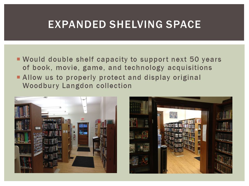  Would double shelf capacity to support next 50 years of book, movie, game, and technology acquisitions  Allow us to properly protect and display original Woodbury Langdon collection EXPANDED SHELVING SPACE