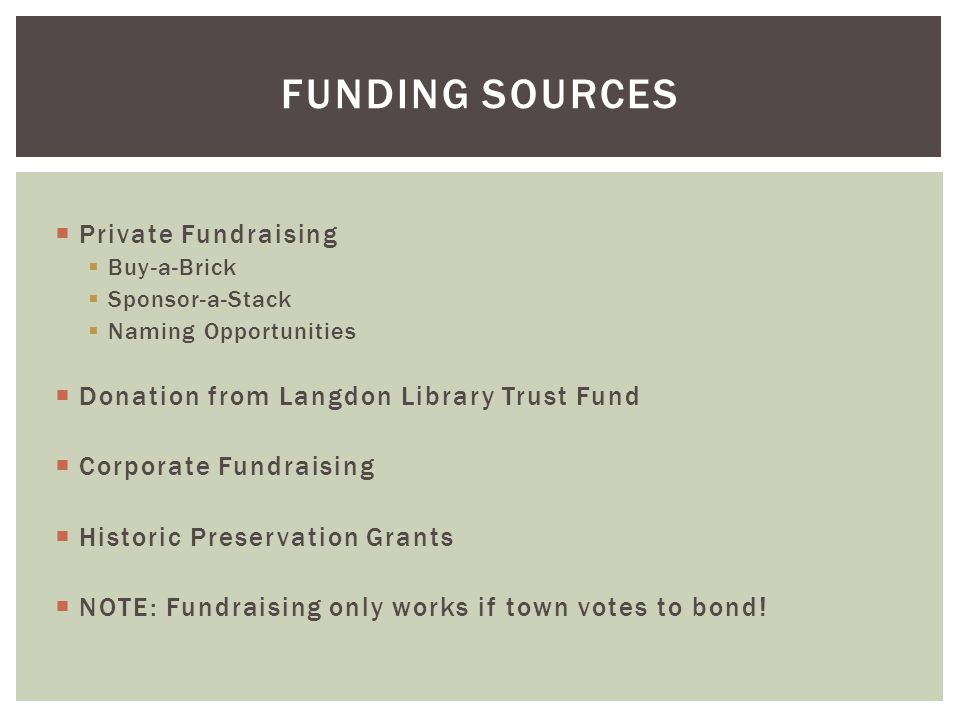  Private Fundraising  Buy-a-Brick  Sponsor-a-Stack  Naming Opportunities  Donation from Langdon Library Trust Fund  Corporate Fundraising  Historic Preservation Grants  NOTE: Fundraising only works if town votes to bond.