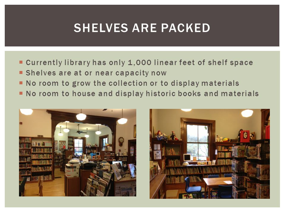  Currently library has only 1,000 linear feet of shelf space  Shelves are at or near capacity now  No room to grow the collection or to display materials  No room to house and display historic books and materials SHELVES ARE PACKED