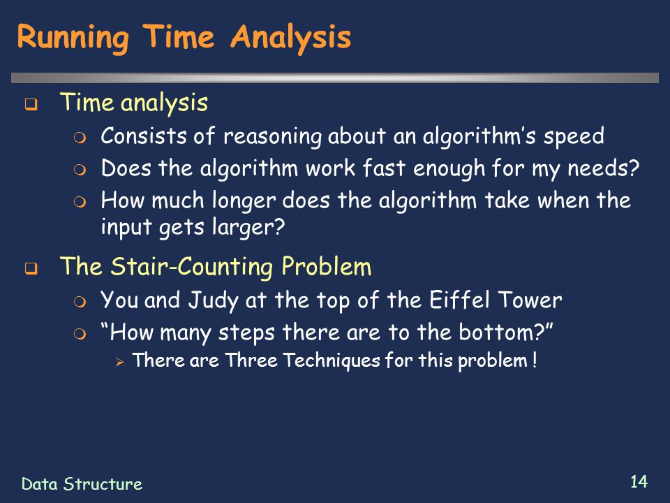 Data Structure 14 Running Time Analysis  Time analysis  Consists of reasoning about an algorithm's speed  Does the algorithm work fast enough for my needs.