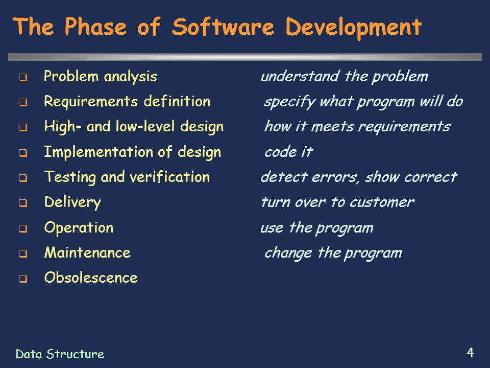 Data Structure 4 The Phase of Software Development  Problem analysis understand the problem  Requirements definition specify what program will do 