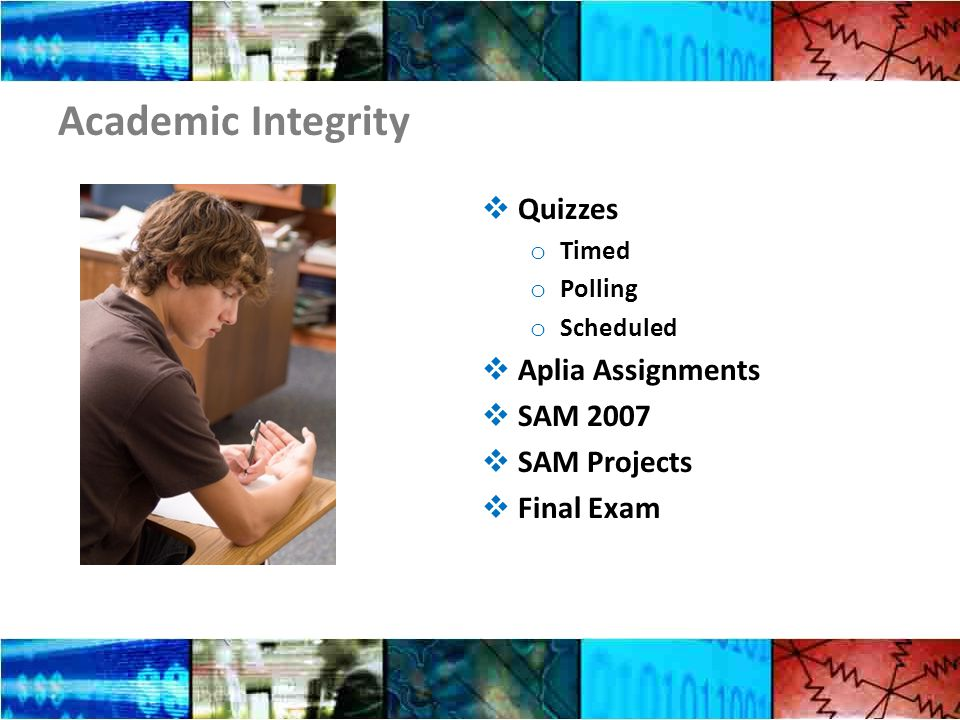 Academic Integrity  Quizzes o Timed o Polling o Scheduled  Aplia Assignments  SAM 2007  SAM Projects  Final Exam