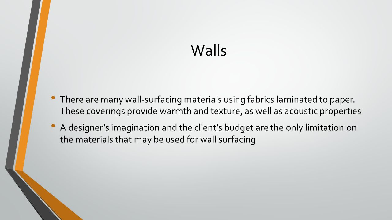 Walls There are many wall-surfacing materials using fabrics laminated to paper.