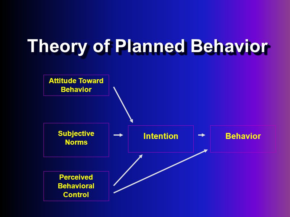 Theory of Planned Behavior Attitude Toward Behavior Subjective Norms Perceived Behavioral Control BehaviorIntention