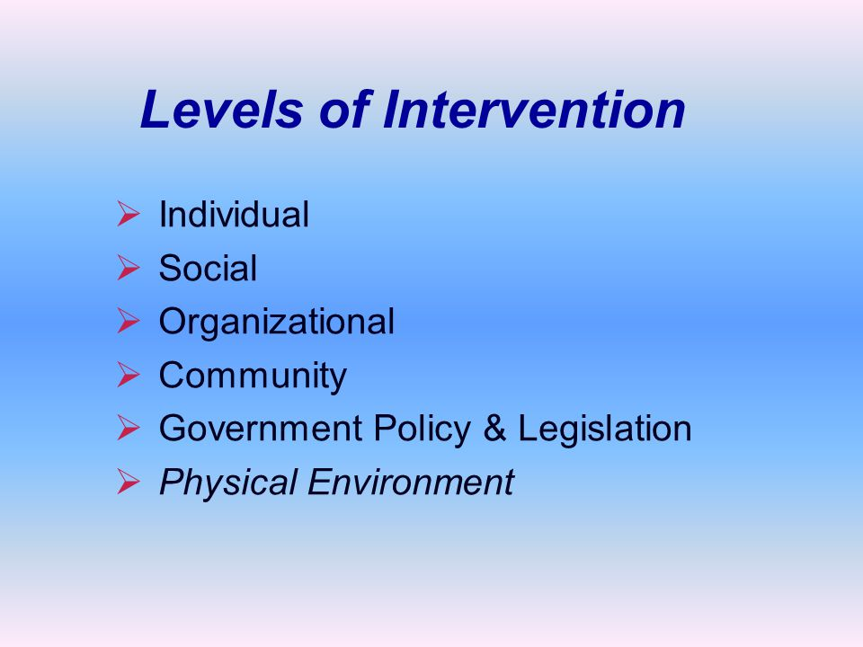   Individual   Social   Organizational   Community   Government Policy & Legislation   Physical Environment Levels of Intervention