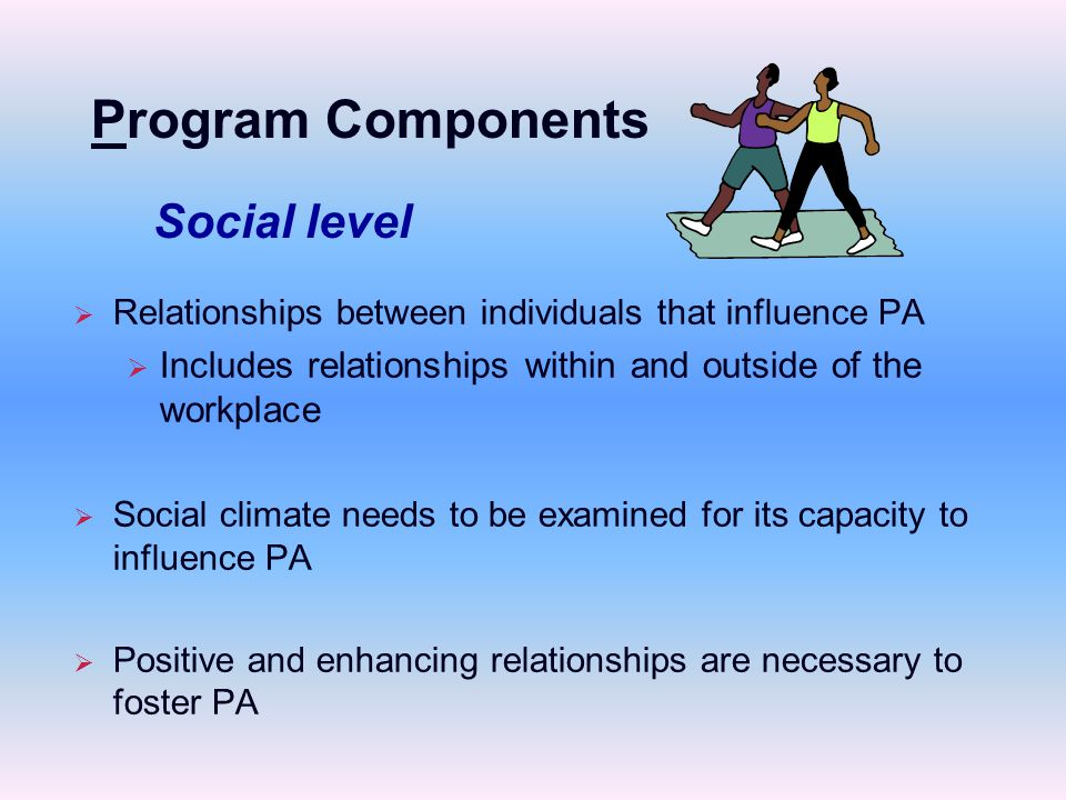   Relationships between individuals that influence PA   Includes relationships within and outside of the workplace   Social climate needs to be examined for its capacity to influence PA   Positive and enhancing relationships are necessary to foster PA Social level Program Components