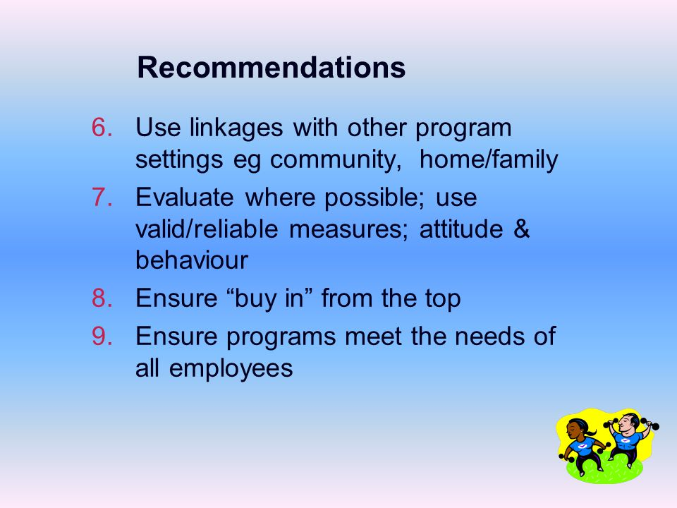 6.6.Use linkages with other program settings eg community, home/family 7.