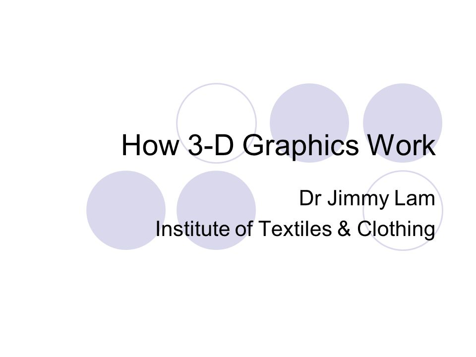 How 3-D Graphics Work Dr Jimmy Lam Institute of Textiles & Clothing