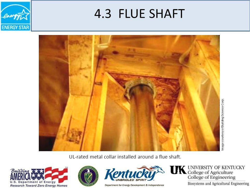 102 4.3 FLUE SHAFT UL-rated metal collar installed around a flue shaft.