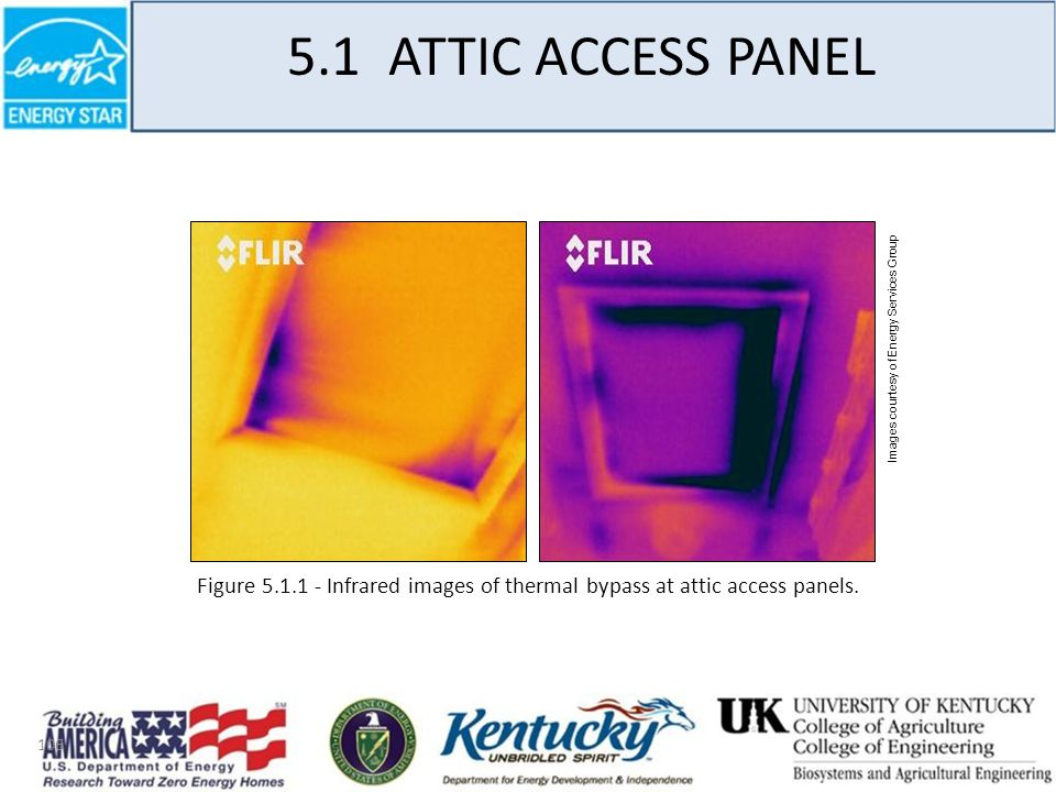 106 Images courtesy of Energy Services Group Figure 5.1.1 - Infrared images of thermal bypass at attic access panels.
