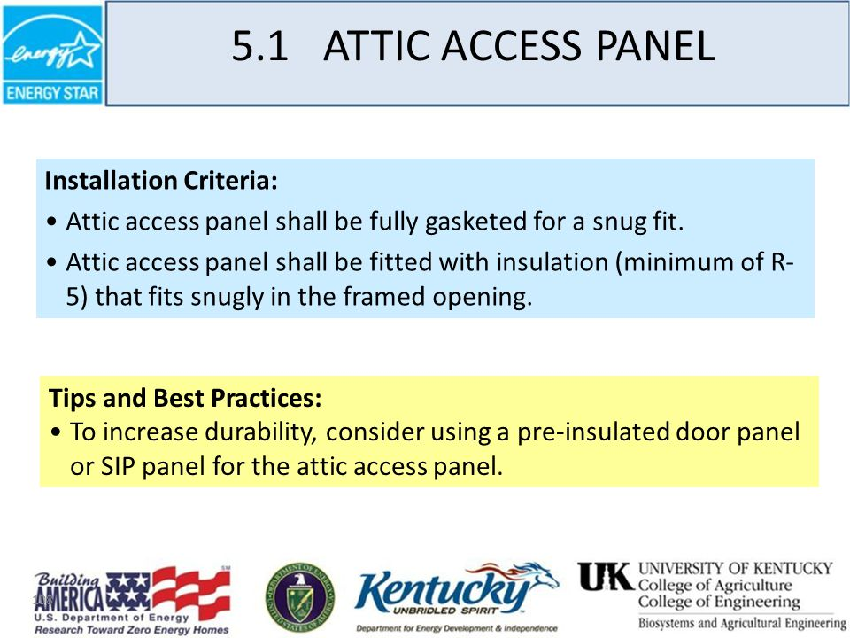 108 5.1 ATTIC ACCESS PANEL Installation Criteria: Attic access panel shall be fully gasketed for a snug fit.