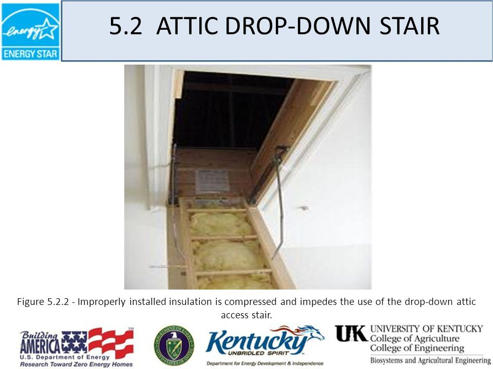 110 5.2 ATTIC DROP-DOWN STAIR Figure 5.2.2 - Improperly installed insulation is compressed and impedes the use of the drop-down attic access stair.